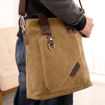 Canvas Retro Backpack Messenger Bag Cross Bag Briefcase Bag - KHAKI