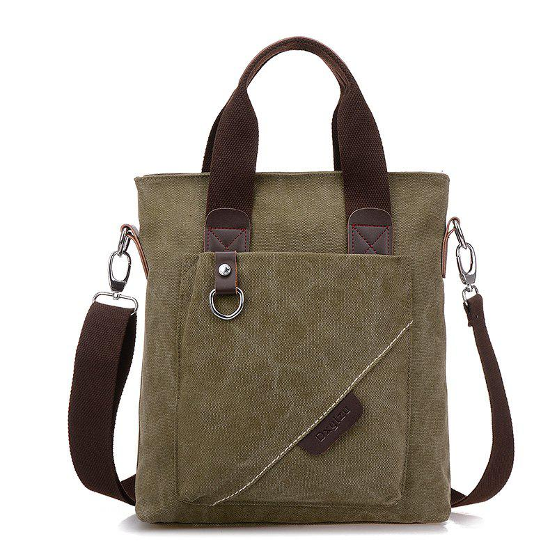 Canvas Retro Backpack Messenger Bag Cross Bag Briefcase Bag - GREEN