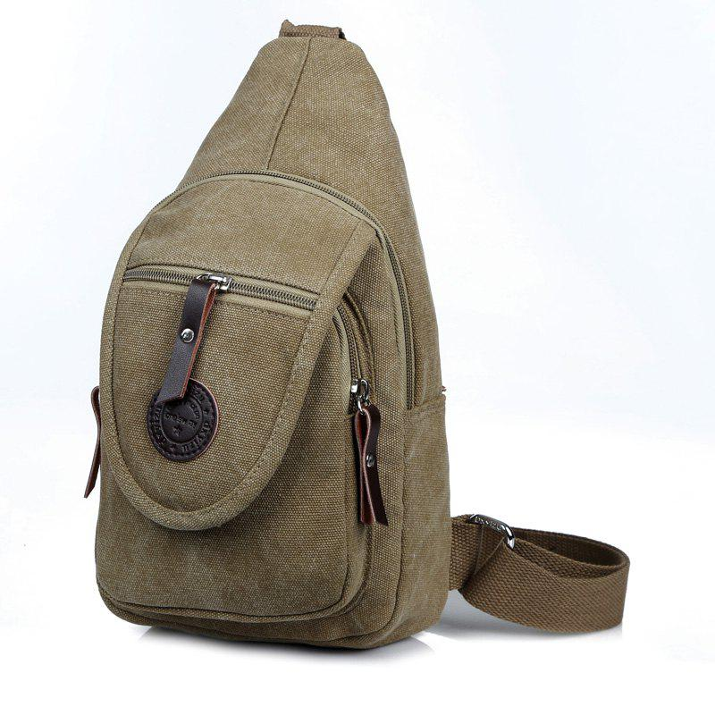 Solid Color Canvas Small Chest Pockets Messenger Bag Shoulder Bag - KHAKI