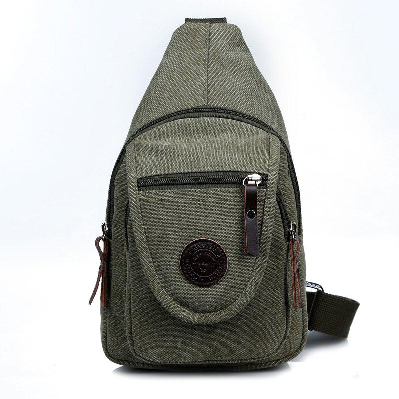 Solid Color Canvas Small Chest Pockets Messenger Bag Shoulder Bag - GREEN