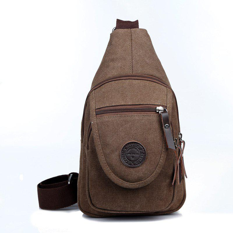 Solid Color Canvas Small Chest Pockets Messenger Bag Shoulder Bag - COFFEE