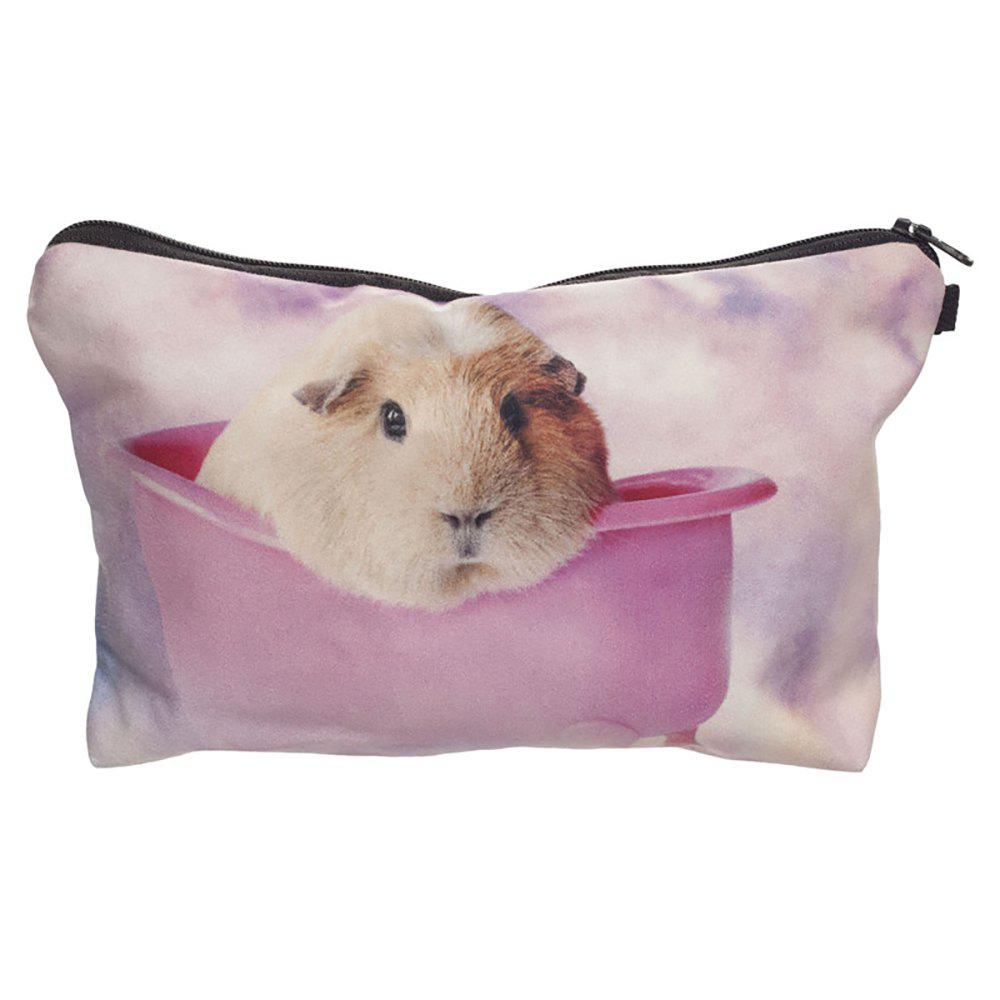 3D Hamsters Printing Cosmetic Bag Fashion Makeup Bag Women Pouch Coin Purse Storage Bag - multicolor HORIZONTAL