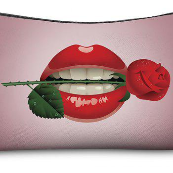 3D Lips with Roses Printing Cosmetic Bag Fashion Makeup Bag Women Pouch Coin Purse Storage Bag - multicolor HORIZONTAL