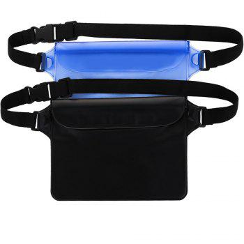 Portable Durable Waterproof Pouch Dry Bag with Adjustable Strap Perfect for Beach Pool Swimming Boating 2-Pack - BLACK BLACK