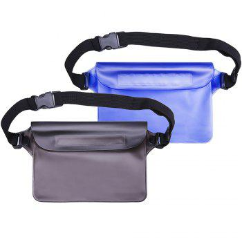 Portable Durable Waterproof Pouch Dry Bag with Adjustable Strap Perfect for Beach Pool Swimming Boating 2-Pack - BLACK