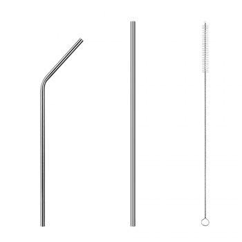 Food Grade Stainless Steel Metal Reusable Drinking Straws Set for Cocktail Latte Iced Tea with 2 Cleaning Brushes - STAINLESS STEEL