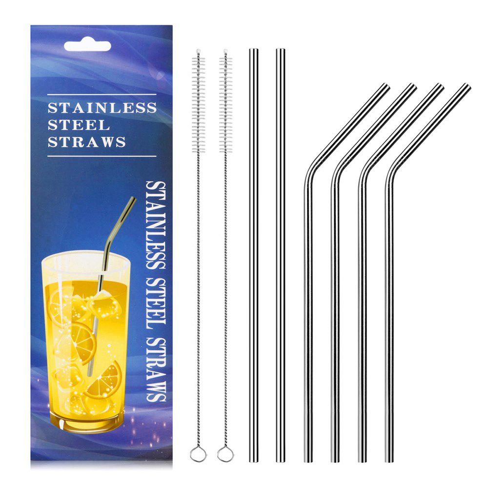 Food Grade Stainless Steel Metal Reusable Drinking Straws Set for Cocktail Latte Iced Tea with 2 Cleaning Brushes 0 127mm standard stainless steel wire brush for metal anilox roller