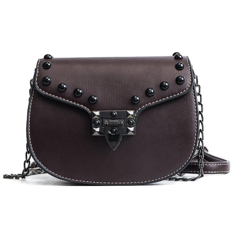 Messenger Bag Rivets Shoulder Bag - COFFEE