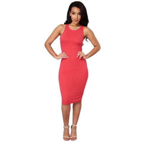 Daifansen Sleeveless T-Shirt Sexy Halter Dress - PINK M