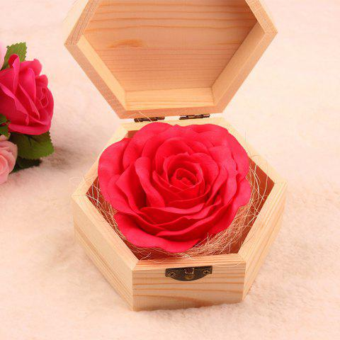 Soap Flower Sweet Solid Artificial Rose Flower With Wooden Box - RED 13.5X13.5X7CM