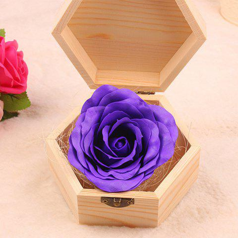 Soap Flower Sweet Solid Artificial Rose Flower With Wooden Box - PURPLE 13.5X13.5X7CM