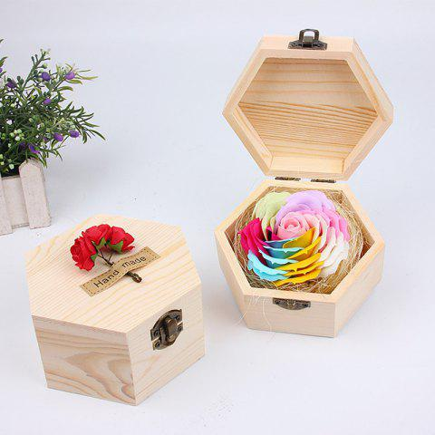 Soap Flower Sweet Solid Artificial Rose Flower With Wooden Box - PINK DOG 13.5X13.5X7CM