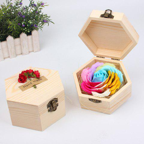 Soap Flower Sweet Solid Artificial Rose Flower With Wooden Box - BLUEL 13.5X13.5X7CM