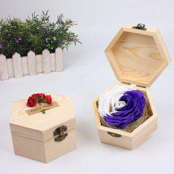 Soap Flower Sweet Solid Artificial Rose Flower With Wooden Box - PURPLES PURPLES