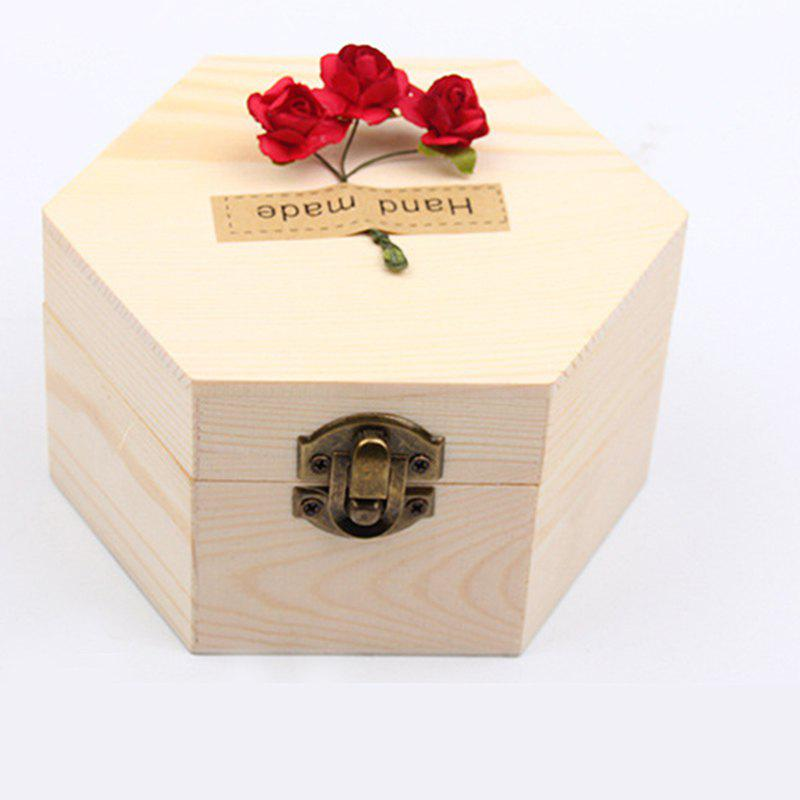 Soap Flower Sweet Solid Artificial Rose Flower With Wooden Box - PINK 13.5X13.5X7CM