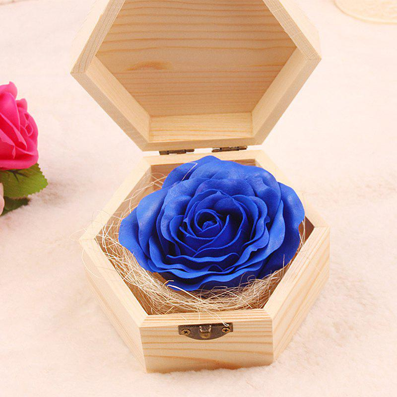 Soap Flower Sweet Solid Artificial Rose Flower With Wooden Box - BLUE 13.5X13.5X7CM