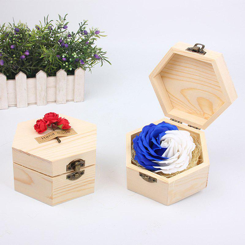 Soap Flower Sweet Solid Artificial Rose Flower With Wooden Box - BLUES 13.5X13.5X7CM