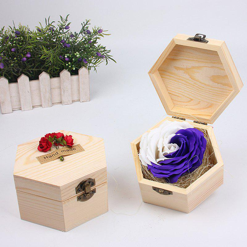 Soap Flower Sweet Solid Artificial Rose Flower With Wooden Box - PURPLES 13.5X13.5X7CM