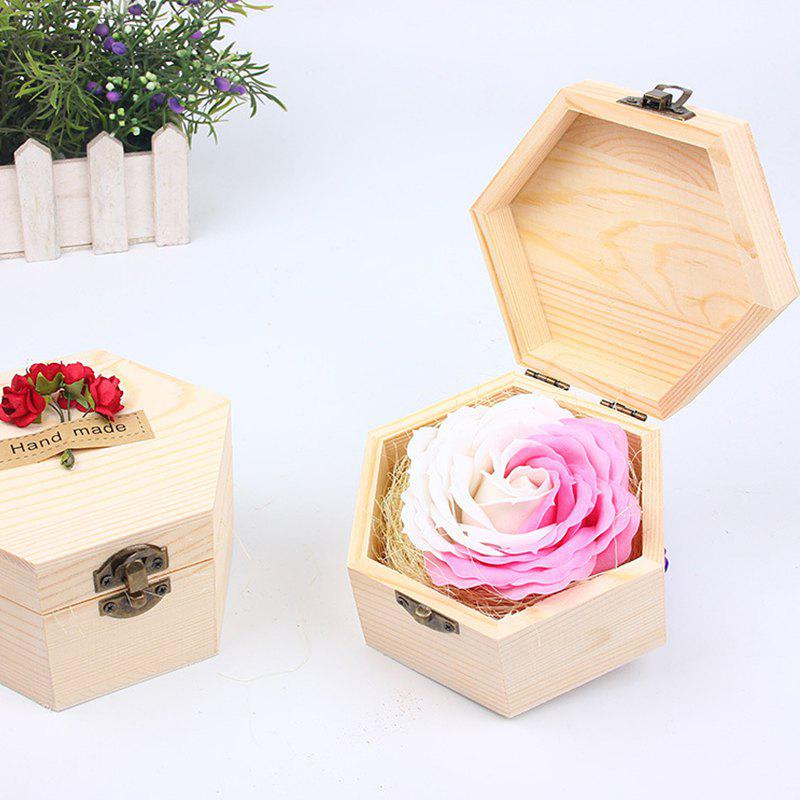 Soap Flower Sweet Solid Artificial Rose Flower With Wooden Box - PINK CAT 13.5X13.5X7CM