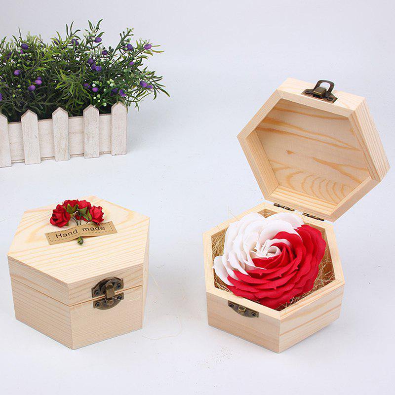 Soap Flower Sweet Solid Artificial Rose Flower With Wooden Box - RED SHEEP 13.5X13.5X7CM