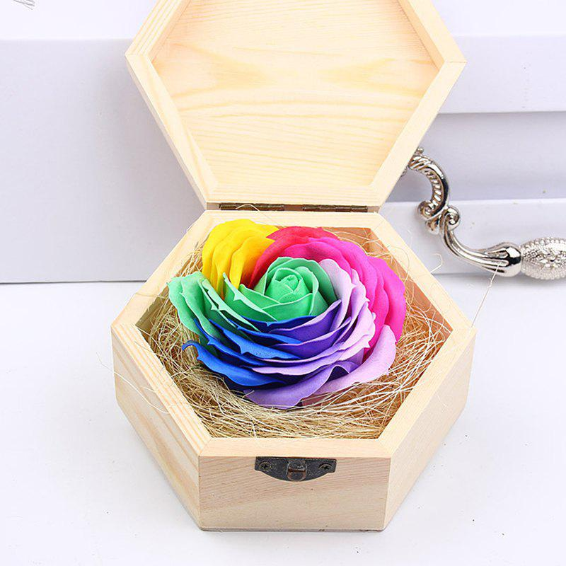 Soap Flower Sweet Solid Artificial Rose Flower With Wooden Box - GREEN 13.5X13.5X7CM