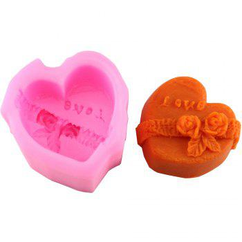 3D Love Heart DIY Fondant Cake Decorations Baking Tools Embossing Dies Chocolate Soap Liquid Mold Silicone Mold - PINK