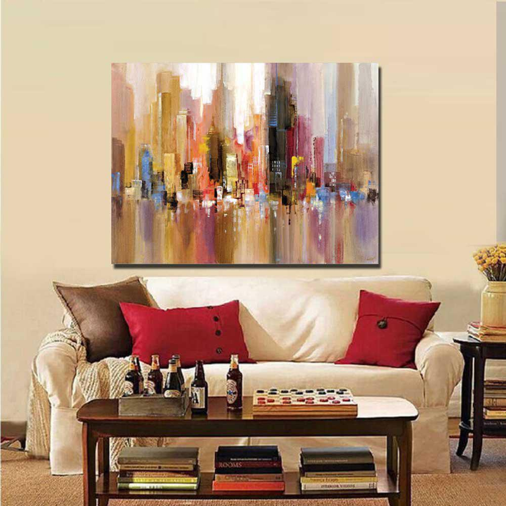 Pure Handmade Abstract Building Oil Painting on Canvas Living Room Wall Decor No Frame - V 24 X 36 INCH (60CM X 90CM)