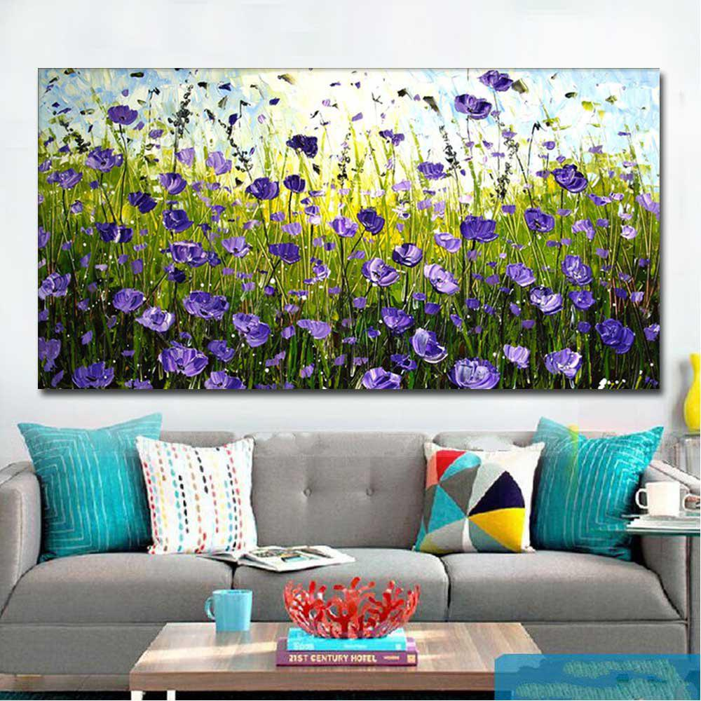 Hand Painted Abstract Purple Field Landscape Oil Painting on Canvas Living Room Bedroom Wall Decor No Framed - PURPLE 24 X 48 INCH (60CM X 120CM)