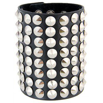 Europe and The United States Exaggerated The Trend of Large Rivets Leather Bracelet Men Liu Nail Bracelet - BLACK