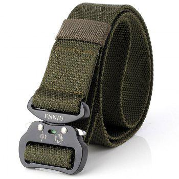 Quick Dry Tactical Heavy Duty Waist Belt  Quick-Release Military Style Shooters Nylon Belts with Metal Buckle - GREEN GREEN