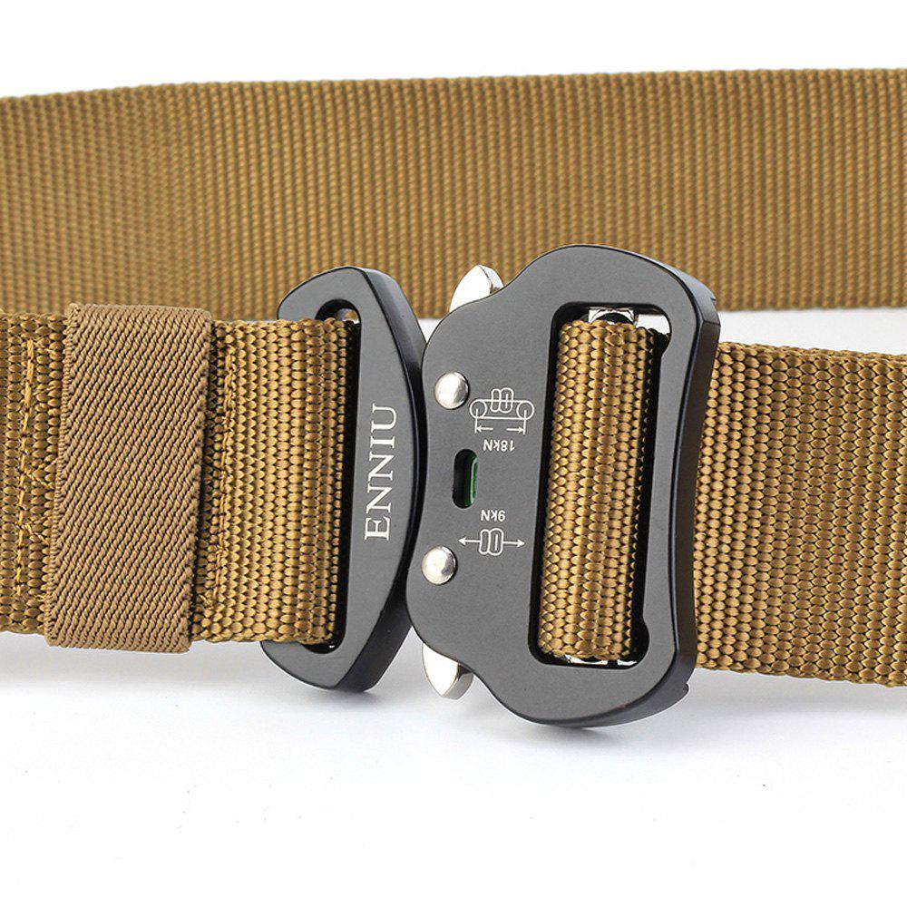 Multi-Function Tactical Waist Belt Quick-Release Military Style Shooters Nylon Weaving Belt with Metal Buckle - BROWN