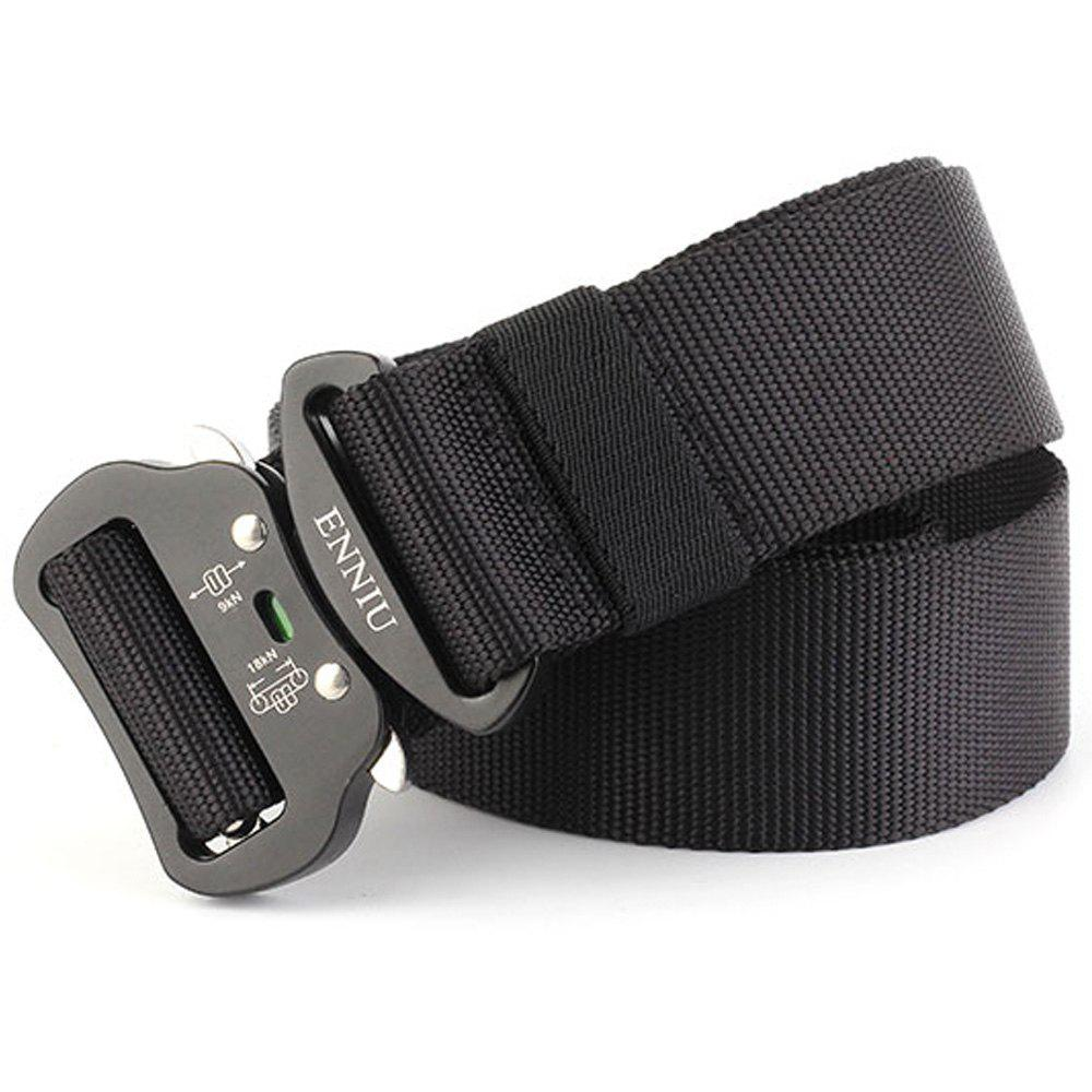Multi-Function Tactical Waist Belt Quick-Release Military Style Shooters Nylon Weaving Belt with Metal Buckle - BLACK
