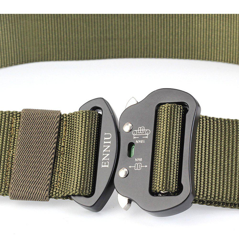 Multi-Function Tactical Waist Belt Quick-Release Military Style Shooters Nylon Weaving Belt with Metal Buckle - GREEN