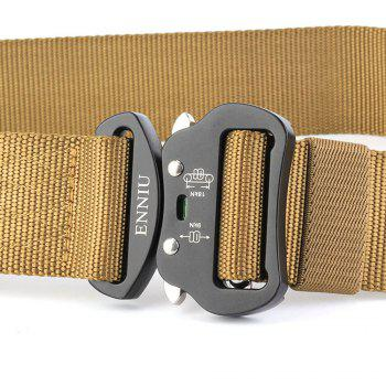 Outdoor Sport Tactical  Waist Belt Quick-Release Military Style Shooters Nylon Weaving Belt with Metal Buckle -  BROWN