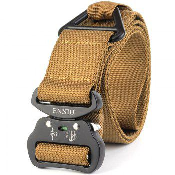 Outdoor Sport Tactical  Waist Belt Quick-Release Military Style Shooters Nylon Weaving Belt with Metal Buckle - BROWN BROWN