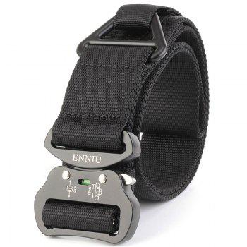 Outdoor Sport Tactical  Waist Belt Quick-Release Military Style Shooters Nylon Weaving Belt with Metal Buckle - BLACK BLACK