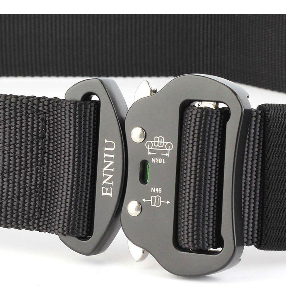 Outdoor Sport Tactical  Waist Belt Quick-Release Military Style Shooters Nylon Weaving Belt with Metal Buckle - BLACK