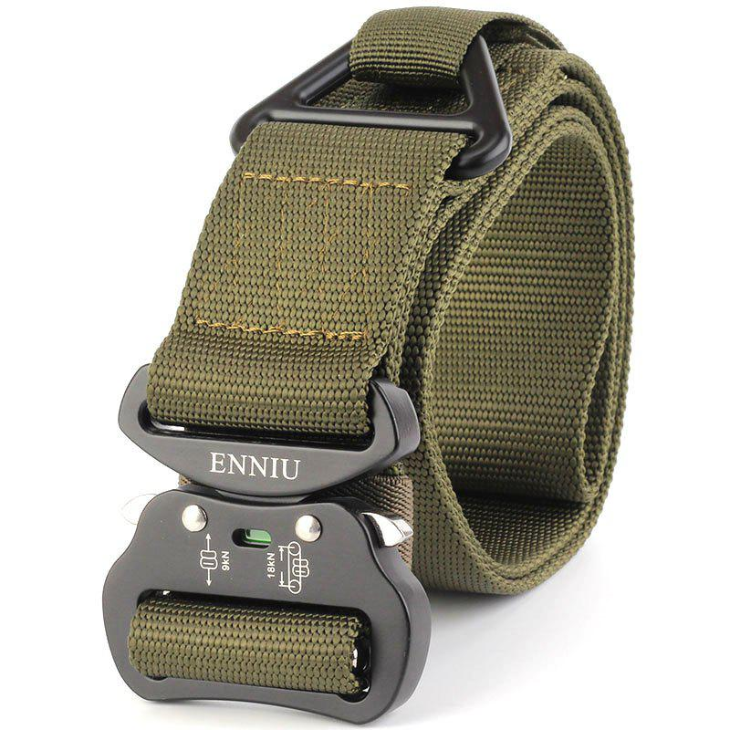 Outdoor Sport Tactical  Waist Belt Quick-Release Military Style Shooters Nylon Weaving Belt with Metal Buckle - GREEN