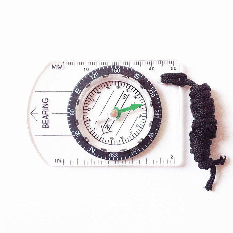 Mini Baseplate Compass Map Scale Ruler Outdoor Camping Hiking Cycling Accessory - TRANSPARENT