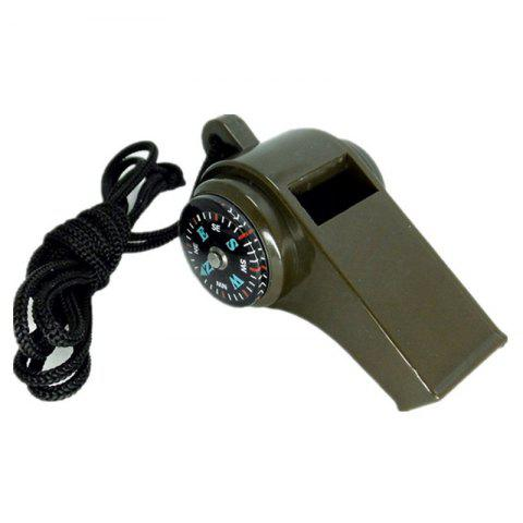 Military Multi-Function High Decibel Survival Whistle Compass Hiking Climbing Accessory - ARMY GREEN