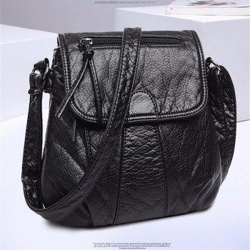 Genuine Women Bags Patchwork PU Woman Shoulder Bag Casual Ladies Tote Bags Female Handbag - BLACK