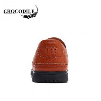 CROCODILE 2018 New Leather Flat Doug Men's Shoes 8082 - BROWN 38