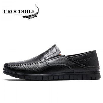 CROCODILE 2018 New Leather Flat Doug Men's Shoes 8082 - BLACK 42