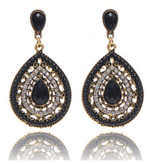 Bohemian Style Full of Diamond Drop Earrings - BLACK