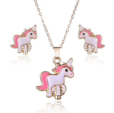 Pink Unicorn Necklace Earrings - PINK