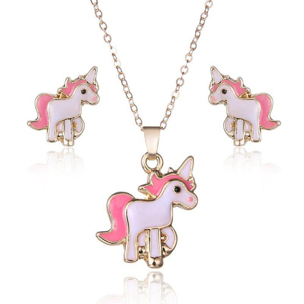 Pink Unicorn Necklace Earrings unicorn drop earrings