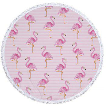 Flamingo Beach Towel  Thick Terry Round Beach Towel Blanket Yoga Mat with Fringe Tassels 60 Inch - PINK PINK