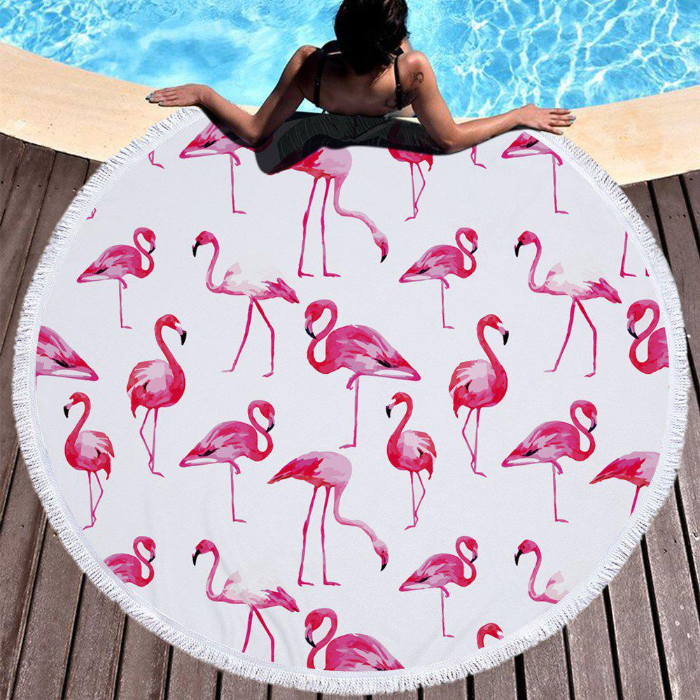 Flamingo Beach Towel  Thick Terry Round Beach Towel Blanket Yoga Mat with Fringe Tassels 60 Inch - RED 150CM