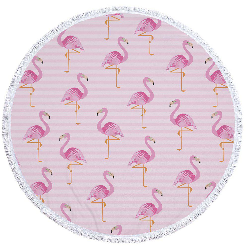 Flamingo Beach Towel  Thick Terry Round Beach Towel Blanket Yoga Mat with Fringe Tassels 60 Inch - PINK 150CM