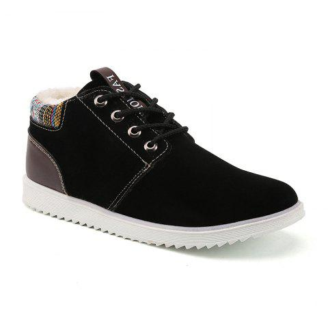 Winter Men's High Top Sneakers Casual Ankle Boots - BLACK 43